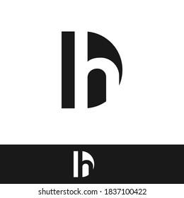 creative minimal DH logo icon design in vector format with letter D H