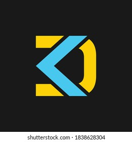 creative minimal DK logo icon design in vector format with letter D K