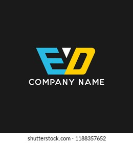 creative minimal ED logo icon design in vector format with letter E D