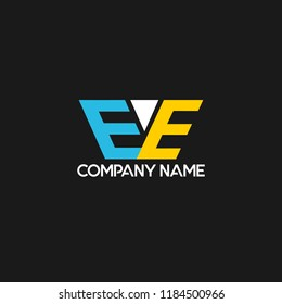 creative minimal EE logo icon design in vector format with letter E