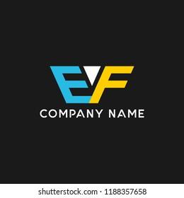 creative minimal EF logo icon design in vector format with letter E F