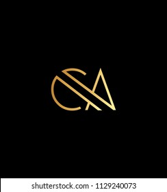Creative and Minimal initial based CA  logo in black and golden color