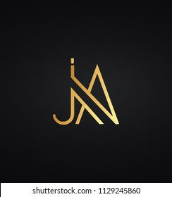 Creative and Minimal initial based JA logo in black and golden color