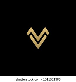 Creative and Minimal initial based MV logo  in black and golden color