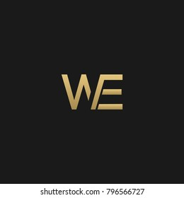 Creative and Minimal initial based WE logo  in black and golden color