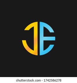 creative minimal JE logo icon design in vector format with letter J E