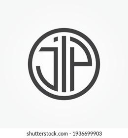 Creative minimal JP circle logo symbol