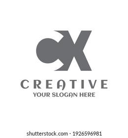 Creative minimal letter CX logo symbol