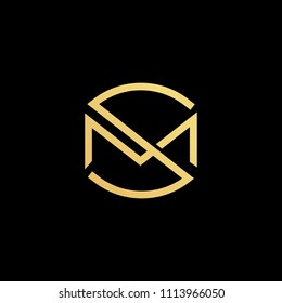 Creative minimal logo design and Unique symbol with S M MS SM.