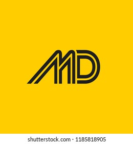 creative minimal MD logo icon design in vector format with letter M D