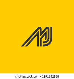 creative minimal MJ logo icon design in vector format with letter M J