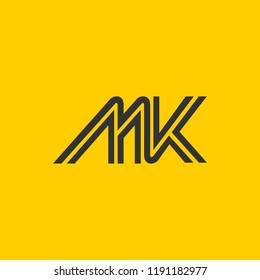 creative minimal MK logo icon design in vector format with letter M K