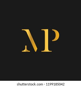 creative minimal MP logo icon design in vector format with letter M P