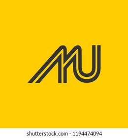 creative minimal MU logo icon design in vector format with letter M U