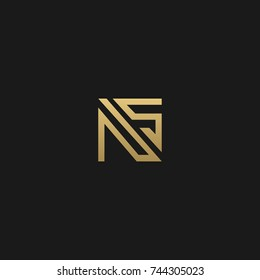 Creative and Minimal style golden and black color initial based NS and SN logo