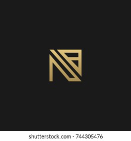 Creative and Minimal style golden and black color initial based NB and BN logo