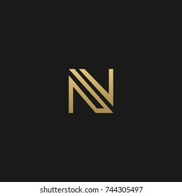 Creative and Minimal style golden and black color initial based NV and VN logo