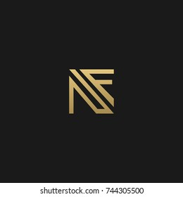 Creative and Minimal style golden and black color initial based NF and FN logo
