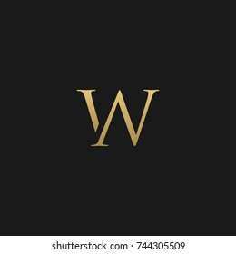 Creative and Minimal style golden and black color initial based NW and WN logo