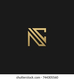 Creative and Minimal style golden and black color initial based NC and CN logo