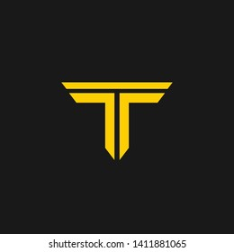 creative minimal TT logo icon design in vector format with letter T