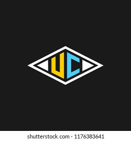 creative minimal UC logo icon design in vector format with letter U C