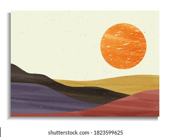 creative minimalist hand painted illustrations of Mid century modern. Abstract nature, sea, sky, sun, river, rock mountain landscape poster. Geometric landscape background