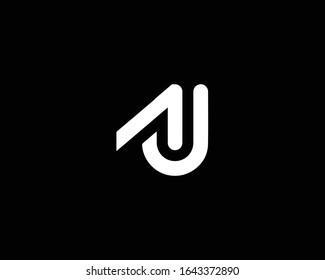 Creative and Minimalist Letter AJ AU Logo Design Icon, Editable in Vector Format in Black and White Color