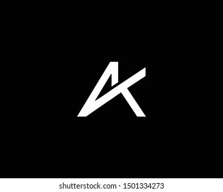 Creative and Minimalist Letter AK Logo Design Icon, Editable in Vector Format in Black and White Color