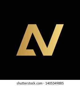 Creative and Minimalist Letter AV Logo Design Icon, Editable in Vector Format in Black and Gold Color