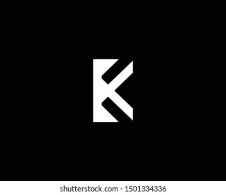 Creative and Minimalist Letter BK K Logo Design Icon, Editable in Vector Format in Black and White Color