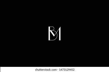 Creative and Minimalist Letter BM Logo Design Icon, Editable in Vector Format in Black and White Color