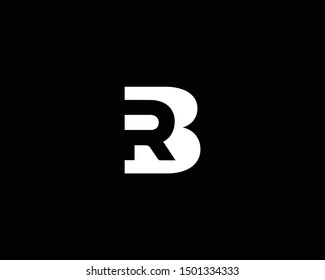 Creative and Minimalist Letter BR RB Logo Design Icon, Editable in Vector Format in Black and White Color