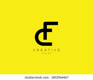 Creative and Minimalist Letter CF Logo Design Using letters C and F , CF Monogram