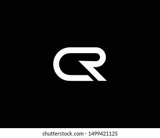 Creative and Minimalist Letter CR RC Logo Design Icon Editable in Vector Format in Black and White Color
