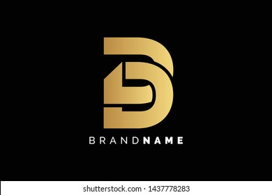 Creative and Minimalist Letter D, DD Logo Design Icon, Editable in Vector Format in Black and Gold Color