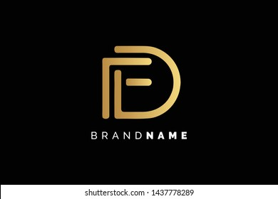 Creative and Minimalist Letter FD, DF  Logo Design Icon, Editable in Vector Format in Black and Gold Color