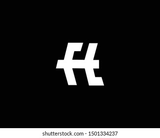 Creative and Minimalist Letter FH FT Logo Design Icon, Editable in Vector Format in Black and White Color