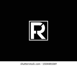 Creative and Minimalist Letter FR RF Logo Design Icon, Editable in Vector Format in Black and White Color