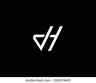 Creative and Minimalist Letter JH DH DI Logo Design Icon, Editable in Vector Format in Black and White Color