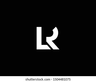 Creative and Minimalist Letter LR Logo Design Icon, Editable in Vector Format in Black and White Color