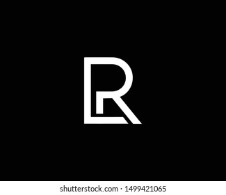 Creative and Minimalist Letter LR RL Logo Design Icon Editable in Vector Format in Black and White Color