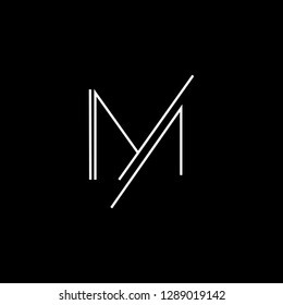 Creative and Minimalist Letter M Logo Design Icon, Editable in Vector Format in Black and White Color