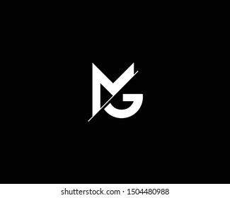 Creative and Minimalist Letter MG GM Logo Design Icon, Editable in Vector Format in Black and White Color