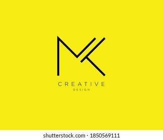 Creative and Minimalist Letter MK Logo Design , MK Monogram