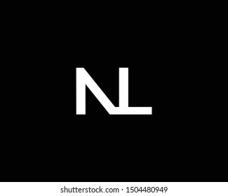 Creative and Minimalist Letter NL Logo Design Icon, Editable in Vector Format in Black and White Color