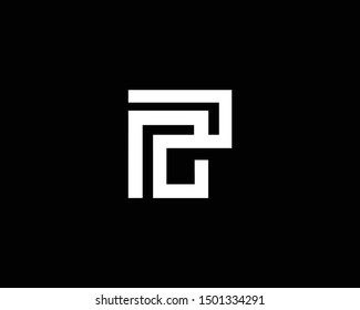 Creative and Minimalist Letter PC RC Logo Design Icon, Editable in Vector Format in Black and White Color