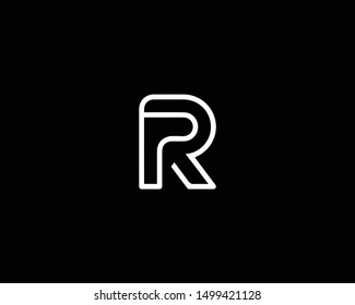 Creative and Minimalist Letter PR RP Logo Design Icon |Editable in Vector Format in Black and White Color