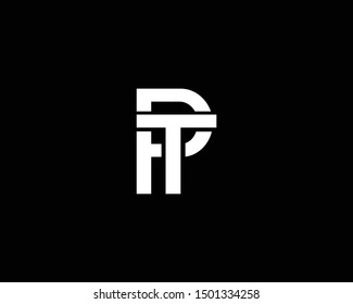 Creative and Minimalist Letter PT TP Logo Design Icon, Editable in Vector Format in Black and White Color