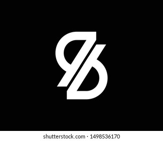 Creative and Minimalist Letter RB Logo Design Icon | Editable in Vector Format in Black and White Color
